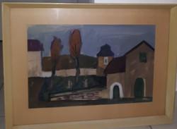 Sopron Bécsi utca akvarell Giczy János korai festménye