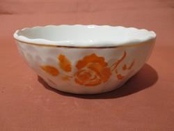 Ritka kis méretű Kispesti Gránit tál narancs színű rózsával