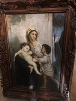 Nő két gyermekkel -sokalakos olaj festmény
