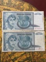 100 dínár 1992
