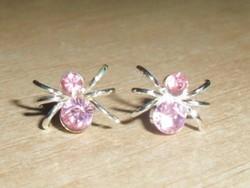 Rózsaszínű Topáz köves Pók Fülbevaló