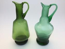Régi zöld üvegkancsó kancsó 2 db
