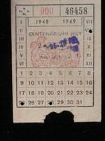 Budapest Centenáriumi jegy 1948
