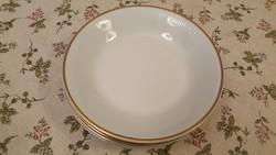 Kahla mélytányérok (5db), gyönyörű, magasfényű porcelán, vastag széli aranyozással!