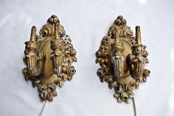 Barokk faragott falikar párban