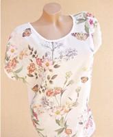 Márkás szépséges pillangós virágos csipkerózsás női blúz felső póló L - XL 40 - 42