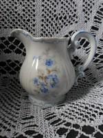 Zsolnay kék virágos tollazott barokk pajzspecsétes tejkiöntő