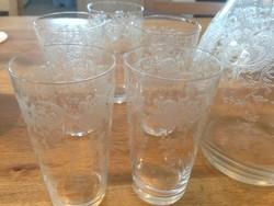 Metszett üveg boroskészlet
