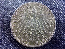 Németország Második Birodalom (1871-1918) .900 ezüst 3 Márka 1911 G / id 10668/