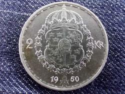 Svédország V. Gusztáv (1907-1950) .400 ezüst 2 Korona 1950 TS / id 10660/