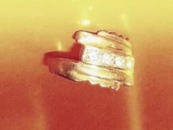 Régi Egyedi cirkon kr. Aranyozott ötvös Gyűrű