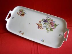 Antik sorszámozott virág mintás süteményes, szendvicses porcelán tálca 38 x 18 cm