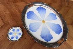 Tálca szecessziós porcelán betétes kínáló és pohár alátét