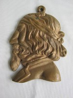 Pajzán jelenetes réz fali dísz férfi fej