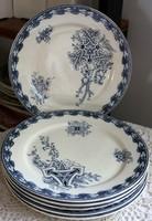 Sarreguemines U & C, Cartouches sorozat, szecessziós francia fajansz lapos tányér, összesen 6 db