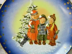 AKCIÓ! 3D domborított karácsonyi falitányér, tányér Johann Schiffmann, gyűjtői 1992
