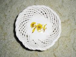 Retro kerámia fonott áttört mintás tálka kosár - festett virág mintával