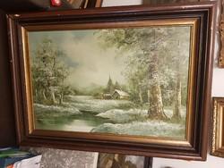 Erdei festmény, 60x90+ szép keret