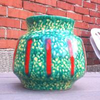 Kivül színes belül sárga mázas, hasas retro kerámia váza