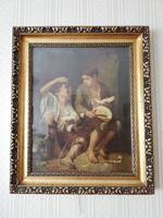 XIX századi festmény reprodukció nyomat hibátlan blondel keretben