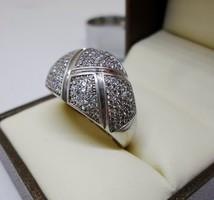 Szépséges nagy méretű  ezüst gyűrű rengeteg kővel