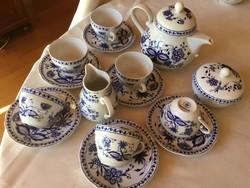 Kahla teás, Zwiebelmuster, vitrin állapotú, teljes készlet