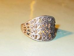 Díszes Tibeti ezüst uniszex  ötvös gyűrű 8-as