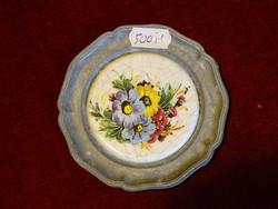 ZINK német  dísztányér, porcelánnal kiöntve, melyben virágminta van.
