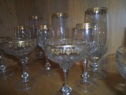 42 + 1 db-os aranyozott pohárkészlet (7 x 6 személyes),  komplett, Eisch német, fújt