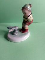 Ritkább Bodrogkeresztúri vadász nyuszival kerámia figura