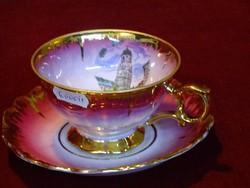 EIGL minőségi  porcelán Ausztria, teáscsésze + alátét. Dúsan aranyozott, ciklámen színnel.