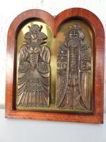 Képcsarnokos relief - Királyi pár - bronz réz alapon fa keretben