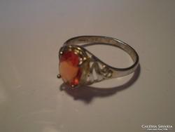 Korall-piros cirkonkőves 925-ös jelzésü gyűrű