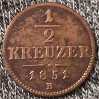 ★1851 Ferenc József 1/2 Krajcár B★