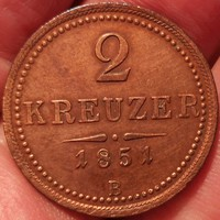 ★1851 Ferenc József 2 Krajcár B★