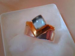 Akvamarin köves ezüst-arany gyűrű