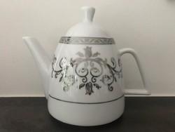 Fehér porcelán teáskanna platina dekorral, Weisenberg Fine Porcelain