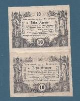 10 Krajcár, Kreuzer 1860 Ívtöredék ( Doppelstück ) XF -aUNC Ingyen posta