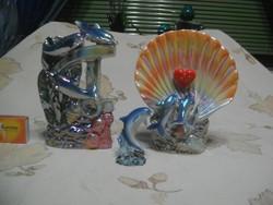 Kerámia figura, nipp - három darab - delfinek