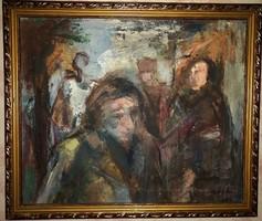 """GÁLL Ádám (1953-) """"Alakok"""" Munkácsy dijas festő- arany fa keretben"""