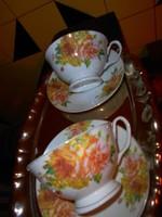 2 db rózsás teás csésze és csészealj
