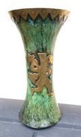 Zöld Inka mintás réz váza