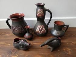 Különleges Skandináv stílusú iparművész kerámia család korsók vázák állatfigurák