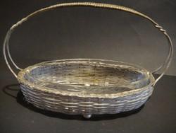 Régi fém kínáló kosár,eredeti üvegbetéttel.