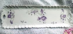 Antik lila pipacsos füles porcelán nagy tálca MZ 48,5x16cm