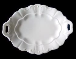 Fehér indamintás füles porcelán tál 39,5x28cm
