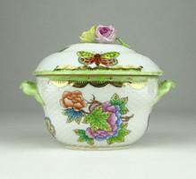 0Y034 Viktória mintás Herendi porcelán bonbonier