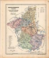 Borsod vármegye térkép 1904, megye, Nagy - Magyarország, eredeti, Kogutowicz Manó, atlasz