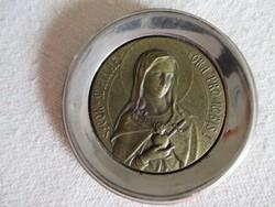 Álomszép bronz Madonna fém keretben