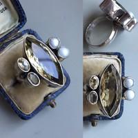 Gyönyörű ezüst gyűrű!! gyöngyökkel!